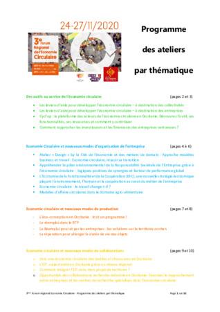Présentation des 17 ateliers du 3ème forum économie circulaire