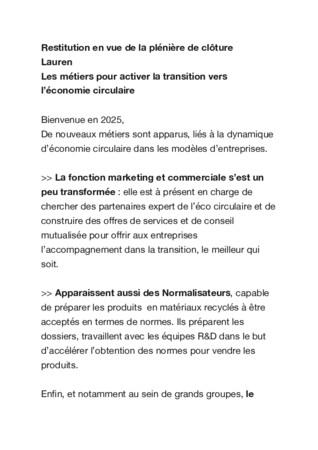 Atelier « Design » by la Cité de l'économie et des métiers de demain : Approche modèles business et travail : Economie circulaire, réussir sa transition