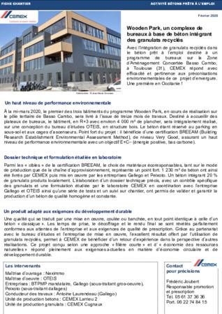 Fiche chantier Wooden Park Toulouse : intégration de granulats recyclés dans du béton prêt à l'emploi