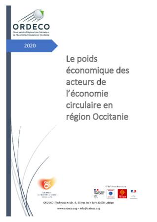 Le Poids économique des acteurs de l'économie circulaire en région Occitanie - Etude ORDECO 2020