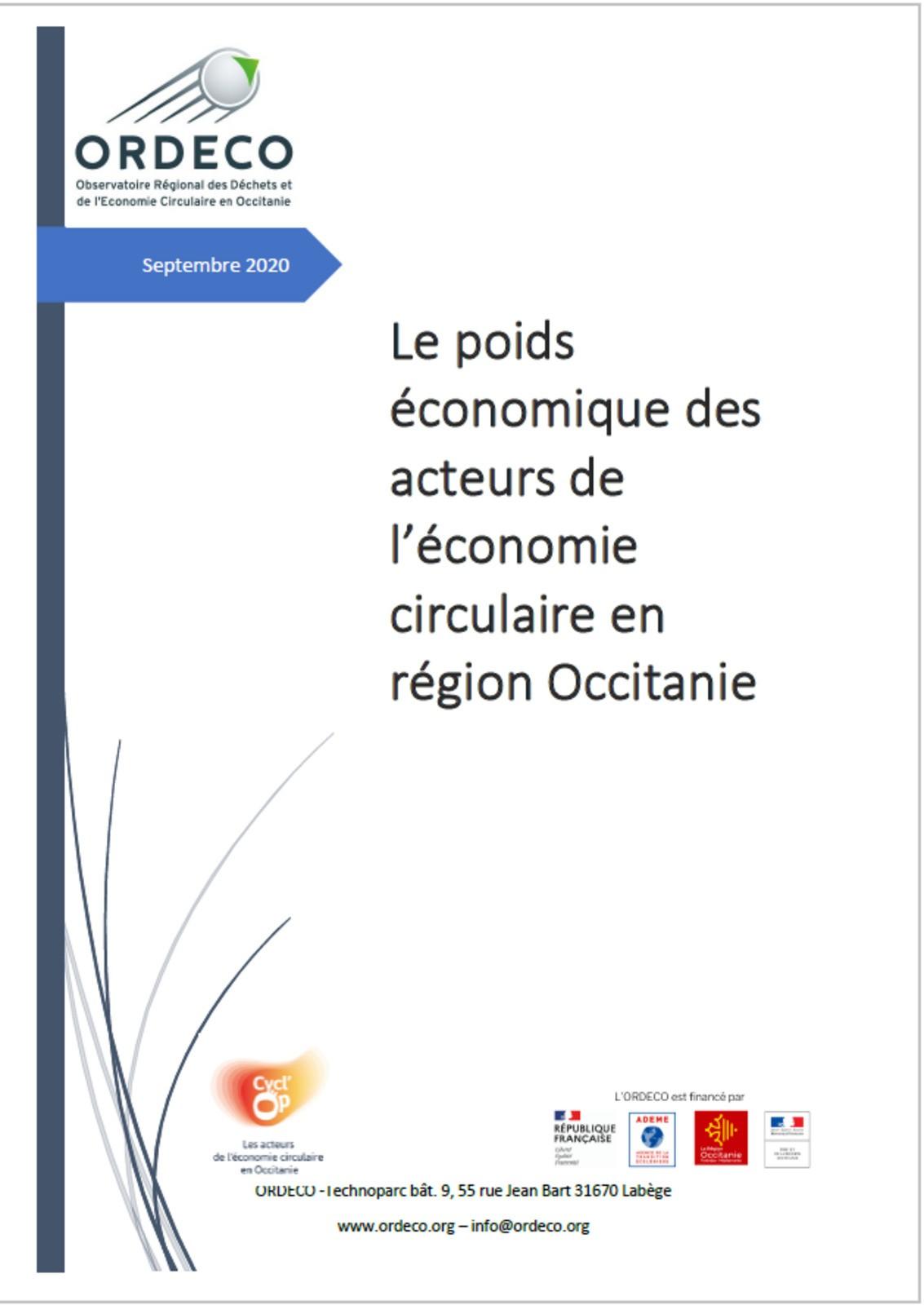 Le Poids économique des acteurs de l'économie circulaire - Etude ORDECO- 2020