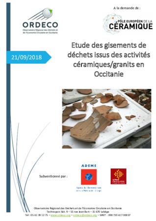 Etude des gisements de déchets issus des activités céramiques/granits en Occitanie