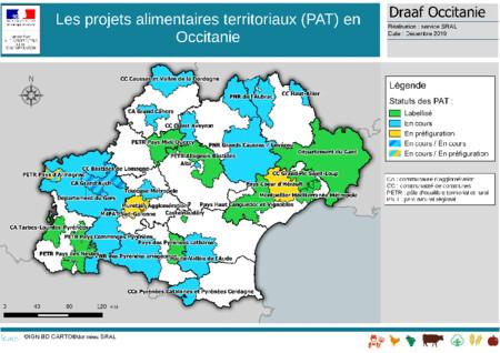 Carte des projets alimentaires territoriaux (PAT)