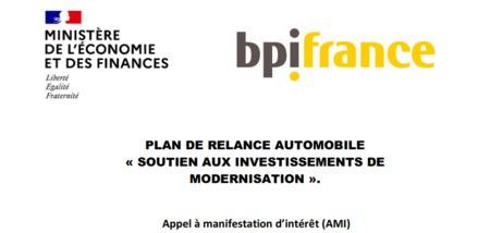 Plan de relance automobile : soutien aux investissements de modernisation